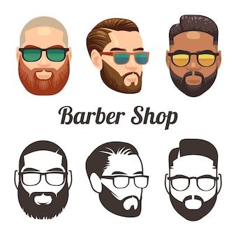 Barbershop cartoon en overzicht gezichten