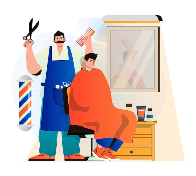 Barbershop-concept in moderne platte ontwerp professionele kapper of haarstylist maakt