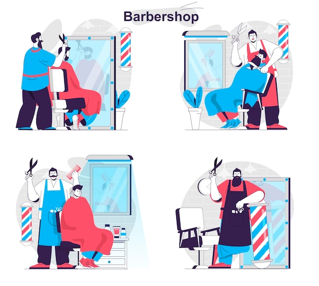 Barbershop concept set kapper maakt mannenkapsels scheert en verzorgt baard