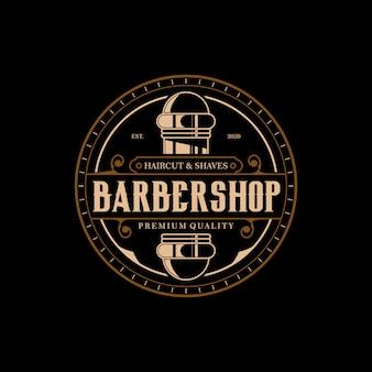 Barbershop elegant en luxe logo vintage cirkel premium ontwerpsjabloon