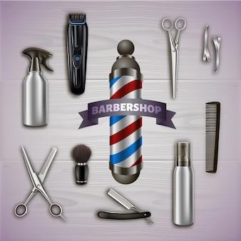 Barbershop en metalen gereedschappen op grijs. barber tool kit. producten voor haarstyling.