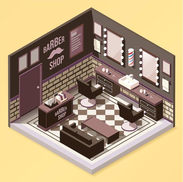 Barbershop interieur isometrische samenstelling
