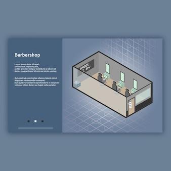 Barbershop isometrische interieur illustratie