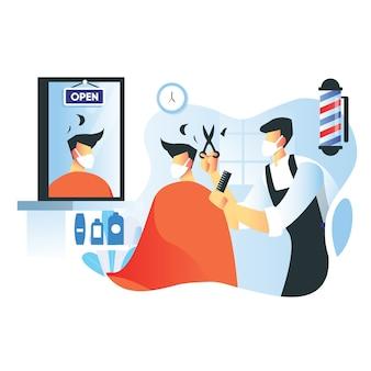 Barbershop open tijdens pandemie illustratie concept