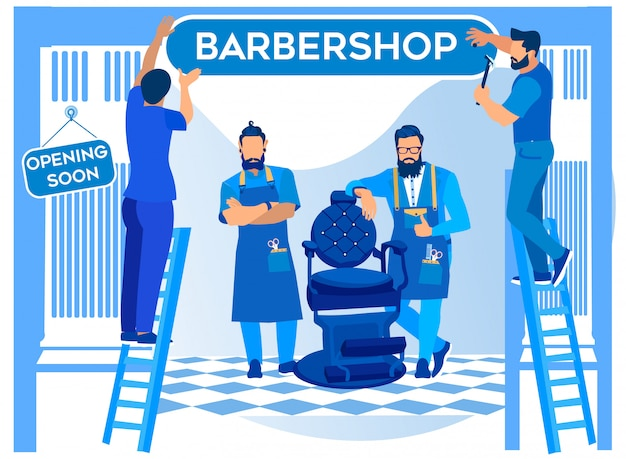 Barbershop opening, werknemers opknoping uithangbord
