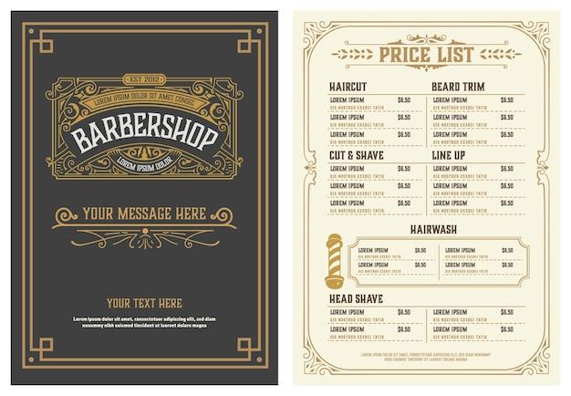 Barbershop prijslijst flyer