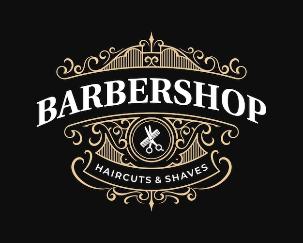 Barbershop sierlijke vintage victoriaanse typografie logo met decoratief sierframe ornament