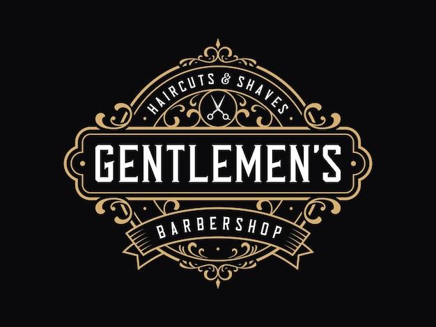 Barbershop vintage badge-logo met bloemenornament