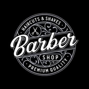 Barbershop vintage belettering logo met bloemenornament