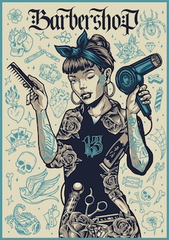 Barbershop vintage poster met mooie knipogende vrouwelijke kapper met kam en föhn