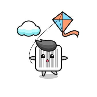 Barcode mascotte illustratie speelt vlieger, schattig ontwerp