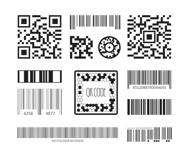 Barcode symbolen. codering producten sticker qr digitale codetechnologie sjablooncollectie