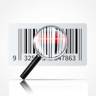 Barcode vergrootglas realistische afbeelding