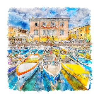 Bardolino italië aquarel schets hand getrokken illustratie