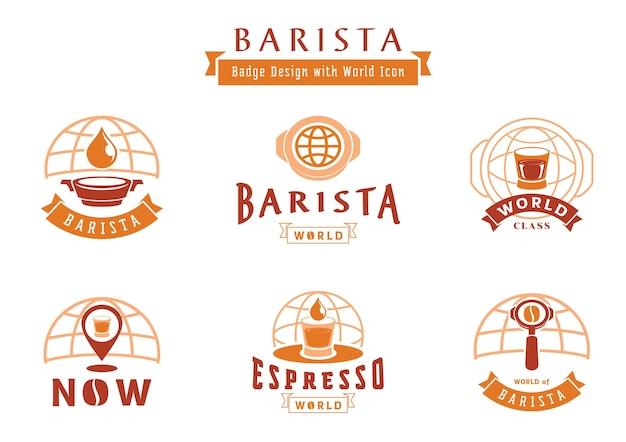Barista badgeontwerp met wereldpictogram