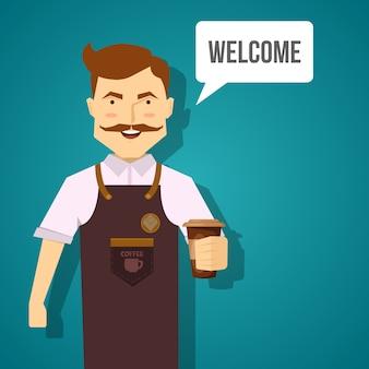 Barista characterdesign met lachende snor man in bruine schort met koffie