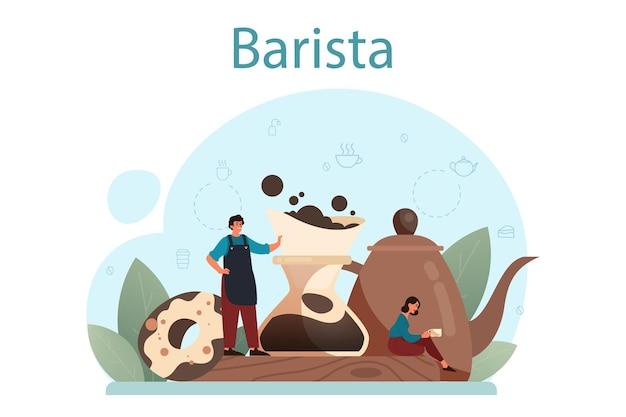 Barista concept. barman die een kop warme koffie maakt. energiek