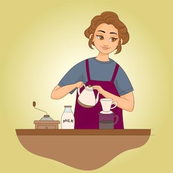 Barista die een koffie voorbereidt