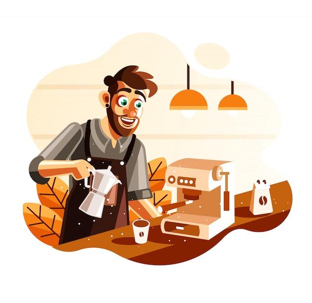 Barista die koffie in koffieillustratie maakt