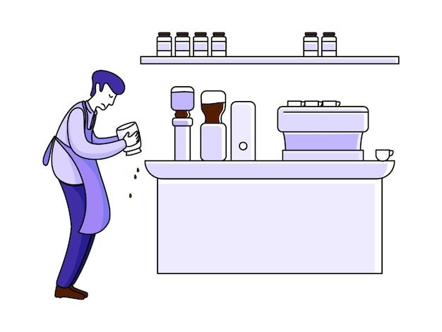 Barista die koffie maakt