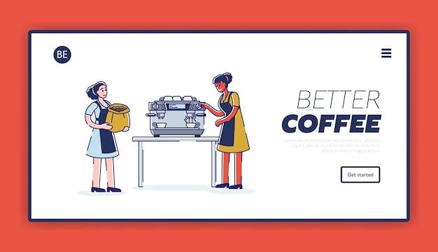 Barista die verse koffieachtergrond voor bestemmingspaginasjabloon maakt