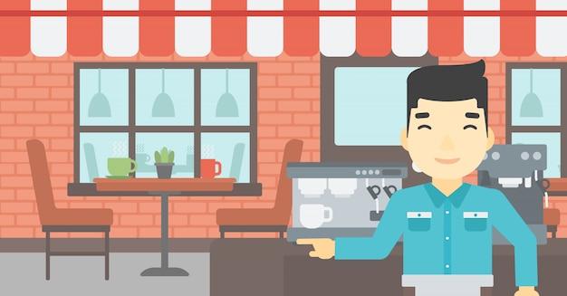 Barista die zich dichtbij koffiemachine bevindt.