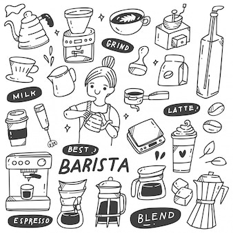 Barista en verschillende verwante objecten in doodle stijl