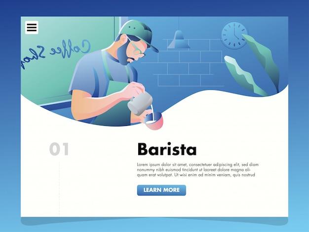 Barista gieten koffie illustratie voor de sjabloon van de bestemmingspagina