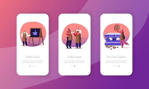 Barista koffie brouwen in café mobiele app-pagina onboard-schermsjabloon