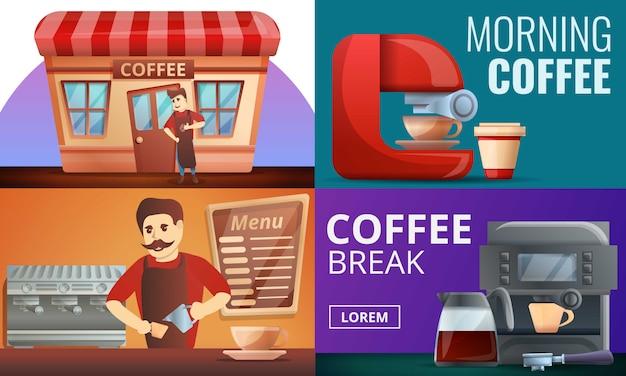 Barista koffie illustratie set, cartoon stijl