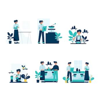 Barista maakt en dient klanten in de illustratie van de koffiewinkel