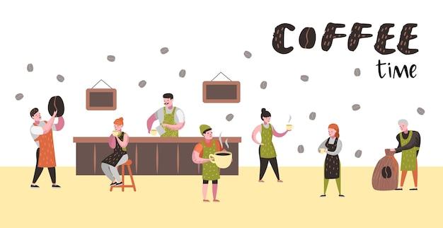 Barista man en vrouw platte karakters in coffeeshop