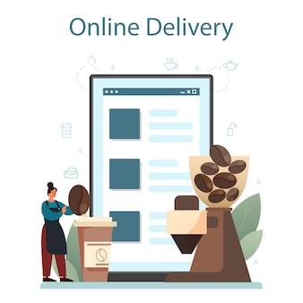 Barista online service of platform. barman die een kop warme koffie maakt. energieke smakelijke drank. online bezorging.