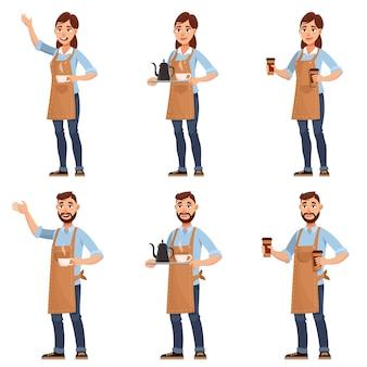 Barista's in verschillende poses. mannelijke en vrouwelijke personages in cartoon-stijl.