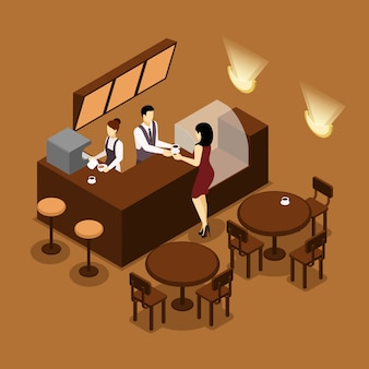 Barista serveren klant isometrische bruin poster