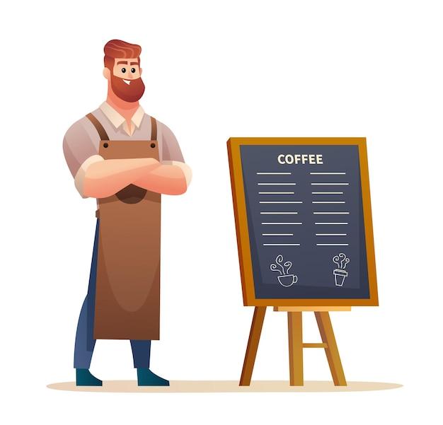 Barista staat in de buurt van de illustratie van het menubord