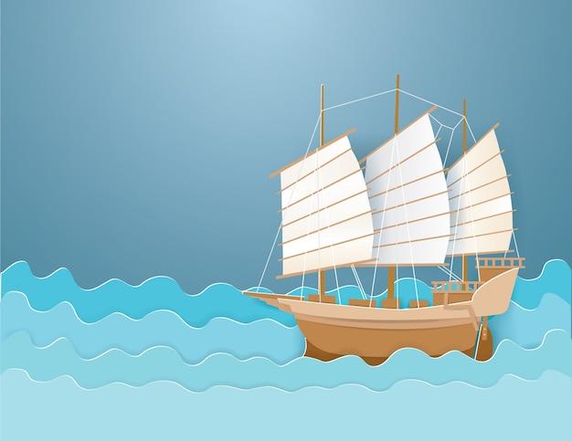 Bark op het blauwe overzees in zomer