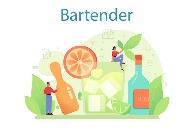 Barman bereiden van alcoholische dranken met shaker bij bar