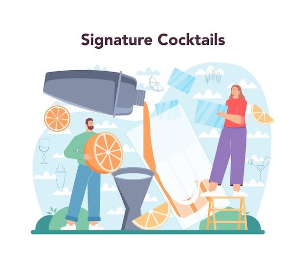 Barman concept. barman bereidt alcoholische dranken met shaker