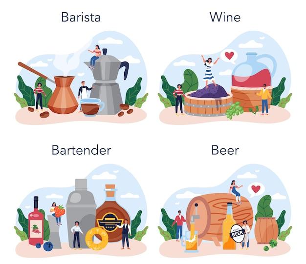 Barman concept set. barista staat aan de toog en maakt koffie. wijn en bier knutselen. barman bereidt alcoholische dranken met shaker bij bar. geïsoleerde platte vectorillustratie