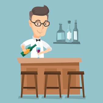 Barman die zich bij de bar bevindt.