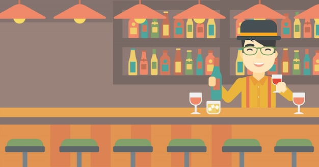 Barman die zich bij de barteller bevindt.