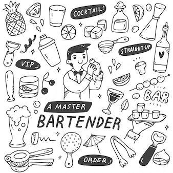 Barman en verschillende verwante objecten in doodle stijl