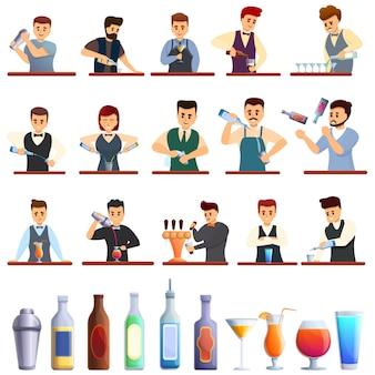 Barman iconen set, cartoon stijl