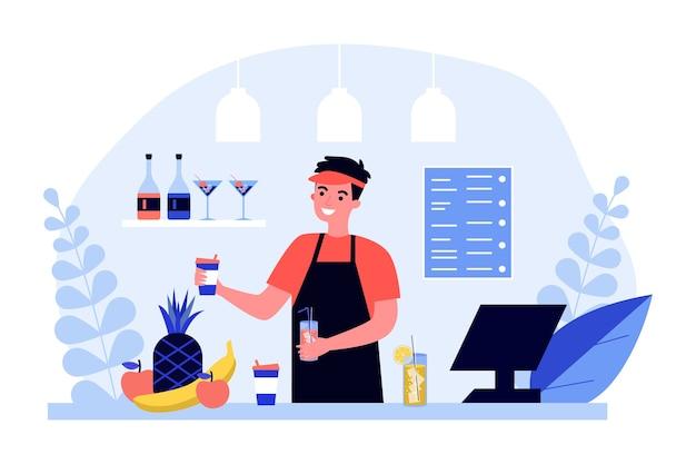 Barman in verse bar. kerel die in uniform fruitlimonades, smoothie en cocktailsillustratie maakt. koud drankje, verfrissing, barconcept voor banner, website of bestemmingswebpagina