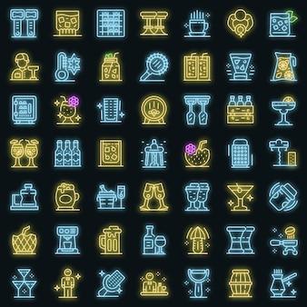 Barman pictogrammen instellen. overzicht set van barman vector iconen neon kleur op zwart