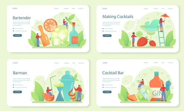 Barman webbanner of bestemmingspagina-set