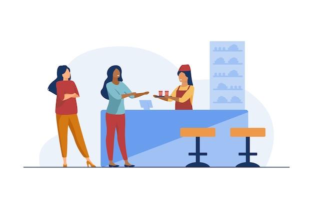 Barmeisje die schotel geeft aan cafébezoeker. drinken, drinken, snacken. vlakke afbeelding.