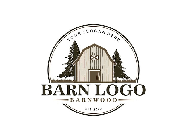 Barnwood vintage logo ontwerpsjabloon