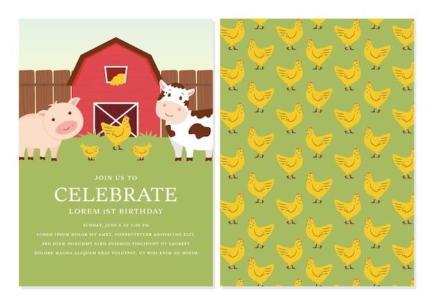 Barnyard verjaardagsuitnodiging sjabloonontwerp met rugontwerp